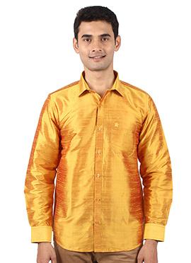 Yellow Pure Dupion Silk Shirt