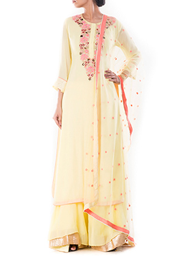 Yellow Pure Georgette Palazzo Suit