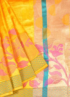 Yellow Pure Handloom Banarasi Silk Saree