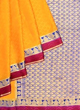 Yellow Pure Handloom Mysore Silk Saree