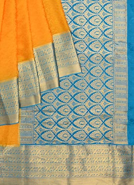 Yellow Pure Mysore Silk Saree