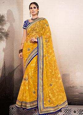 Yellow Pure Net Saree