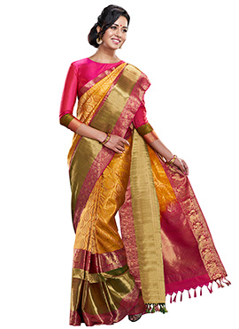 Yellow Pure Silk Handloom Saree