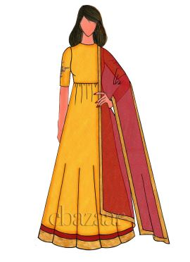 Yellow Raw Silk Embroidered Anarkali Suit