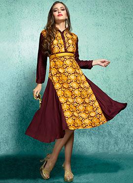 Yellow Rayon Cotton Linen Kurti