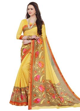 Yellow Sambalpuri Silk Saree