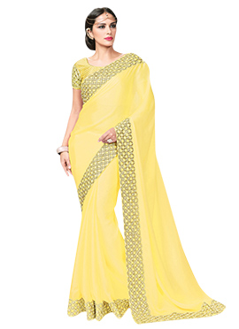 Yellow Satin Georgette Border Saree