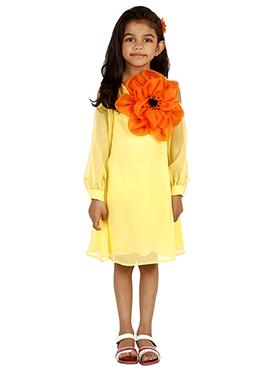 Yellow Satin Kids Dress