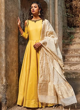 Yellow Satin Silk N Net Cold Shoulder Anarkali Suit