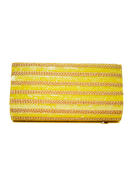 Yellow Sequins N Beads Embellished Clutch