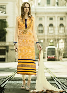 Yellow Shade Embroidered Straight Suit