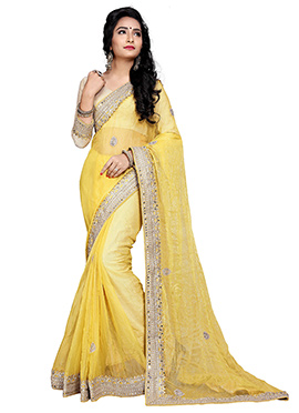 Yellow Shimmer Georgette Saree