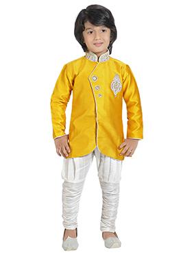 Yellow Silk Blend Boys Indowestern Sherwani