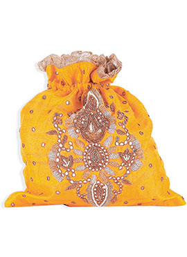 Yellow Silk Embellished Potli Bag