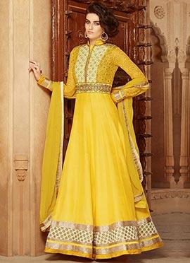 Yellow Silk Georgette Anarkali Suit