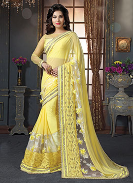 Yellow Soft Georgette Saree