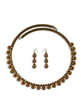 Yellow Stone Embellished Choker Necklace Set