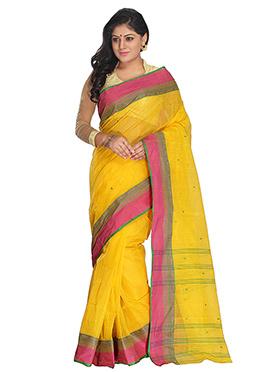 Yellow Tangail Blended Cotton Saree
