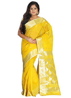 Yellow Tangail Pure Cotton Saree