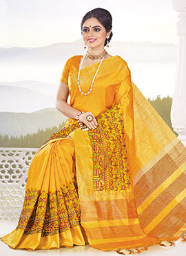 Yellow Tussar Silk Saree