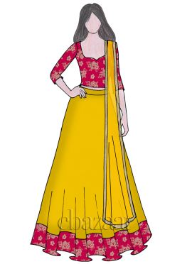 Yellow Umbrella Lehenga N Rani Pink Velvet Choli