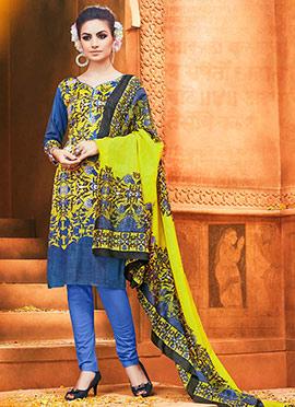 Yellow Viscose Churidhar Suit