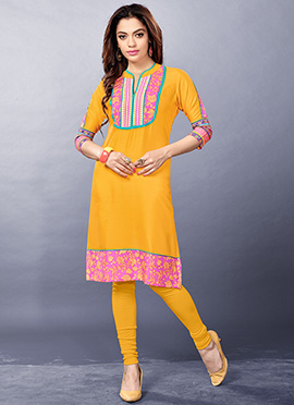Yellow Viscose Cotton Kurti