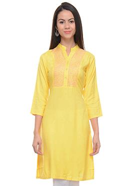 Yellow Viscose Kurti