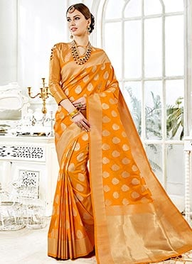 Yellow Zari Woven Saree