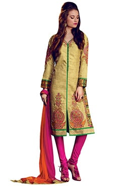Yellowish Cream Churidar Suit