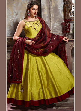Yellowish Green Art Silk Anarkali Suit