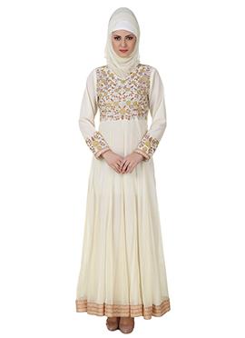 Zaeemah Net N Crepe Off White Abaya