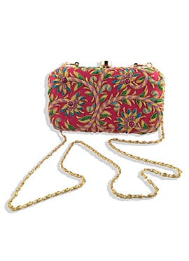 Zardosi Worked Magenta Majrooh Silk Box Clutch