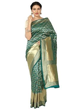 Zari Woven Dark Green Art Benarasi Silk Saree