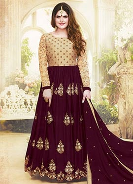 Zarine Khan Beige N Dark Maroon Anarkali Suit