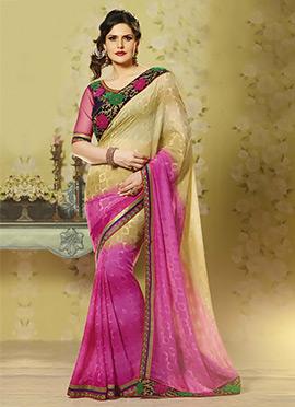 Zarine Khan Beige N Pink Georgette saree