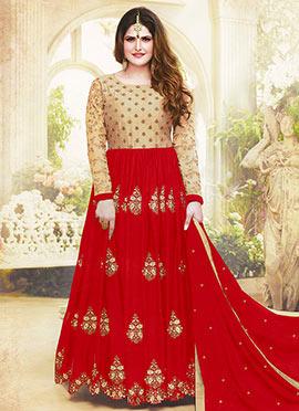 Zarine Khan Beige N Red Abaya Style Anarkali Suit