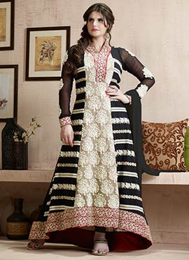 Zarine Khan Black Anarkali Suit
