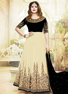 Zarine Khan Black N Cream Abaya Style Anarkali Suit
