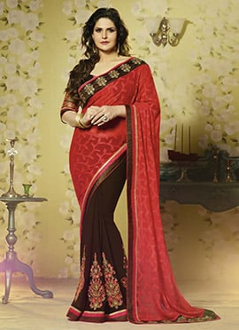 Zarine Khan Coffee Brown N Red Half N Half Saree