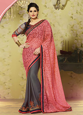 Zarine Khan Grey N Onion Pink Half N Half Saree