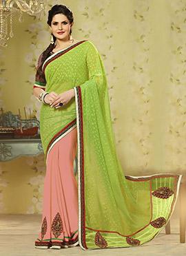 Zarine Khan Peach N Light Green Half N Half Saree