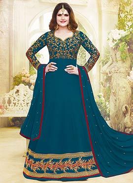 Zarine Khan Teal Abaya Style Anarkali Suit