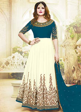 Zarine Khan Teal N Cream Abaya Style Anarkali Suit