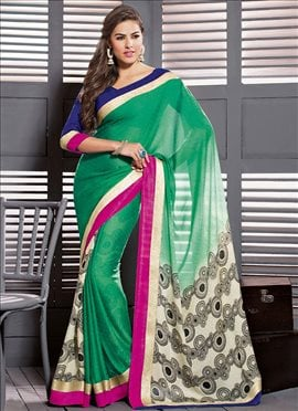 Zesty Green Printed Saree