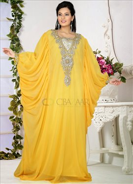 Zesty Yellow Georgette Farasha Fustan