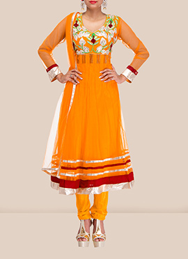 Zesty Yellow Net Anarkali Suit