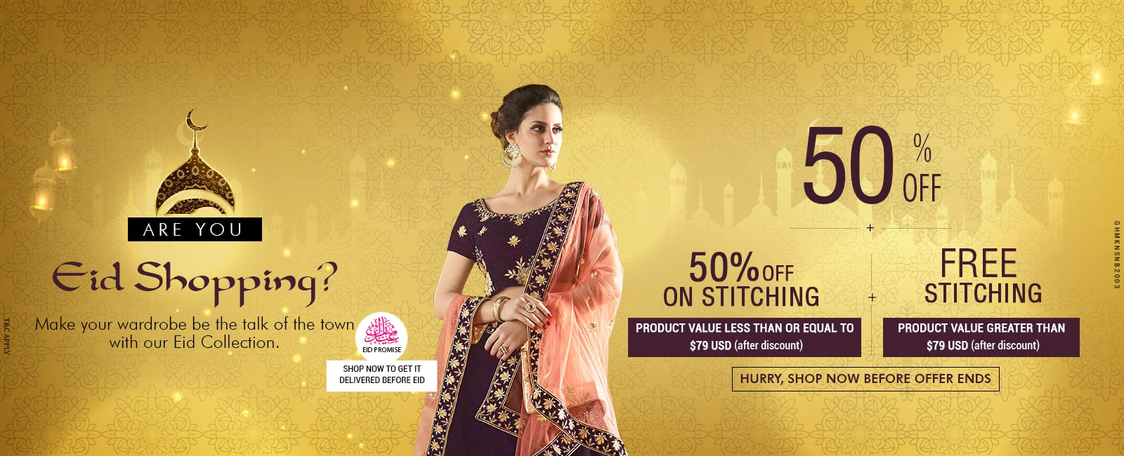 50% Off + 50% Off on Stitching + Free Stitching