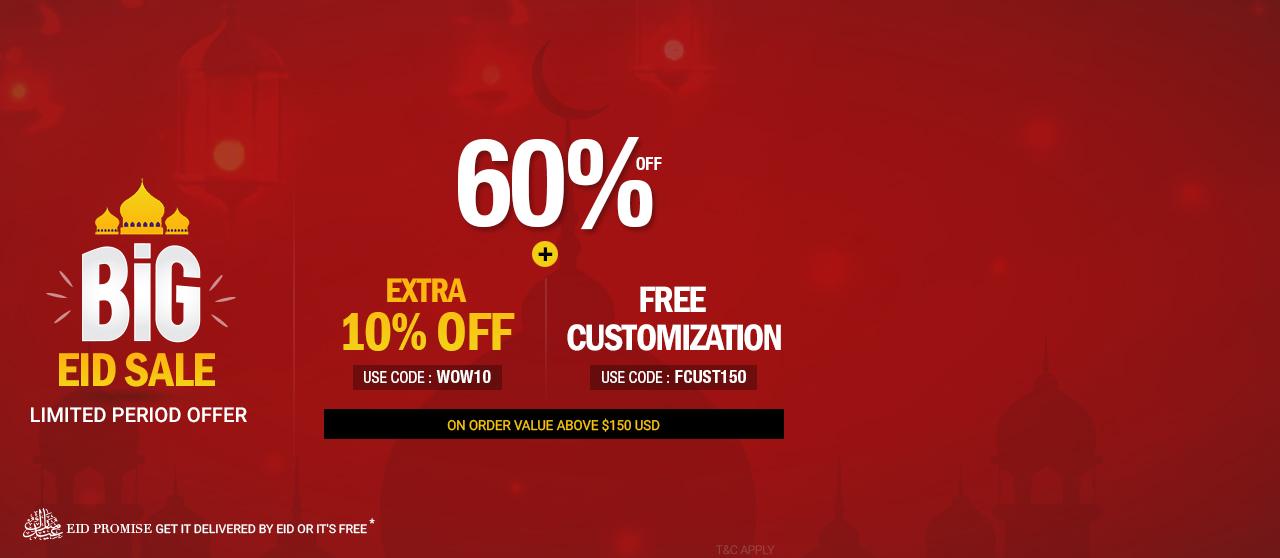 60% Off +extra 10% Off +Free Customization