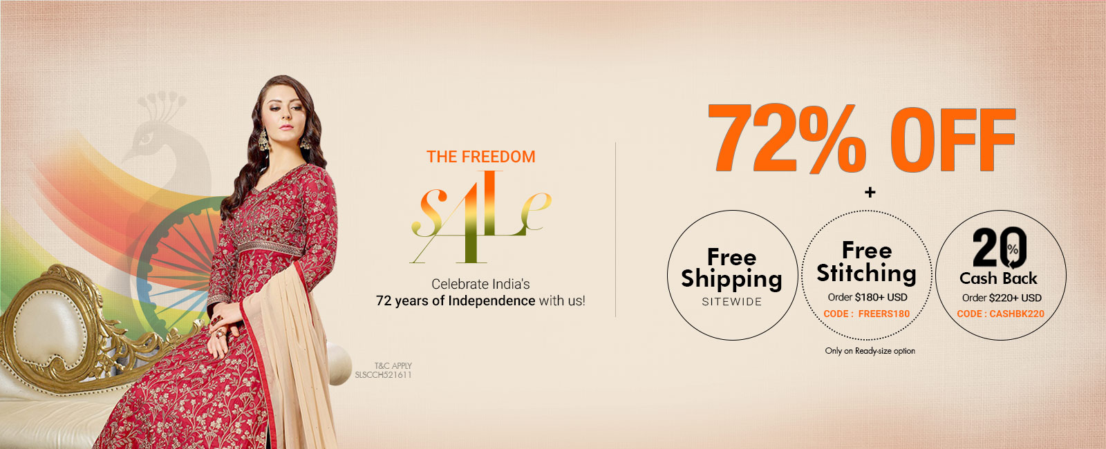 72% off + Free Shipping + Free Stitching